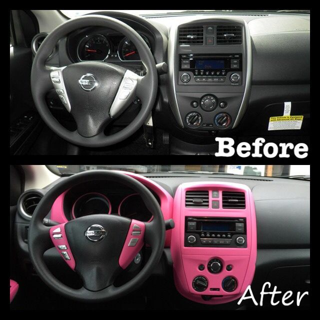 Plastidip Interior Of 2016 Nissan Versa Sv In Fierce Pink Cars In 2020 Pink Car Interior Pink Car Accessories Pink Car
