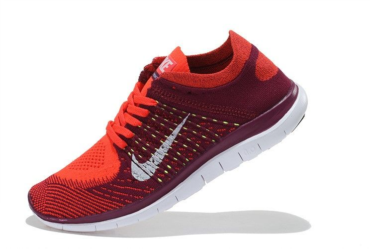 new styles d23e1 6dadc Nike Free 4.0 Flyknit Women Deep Red White Running Shoes