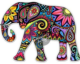 elephant car decal colorful design bumper sticker laptop decal pink