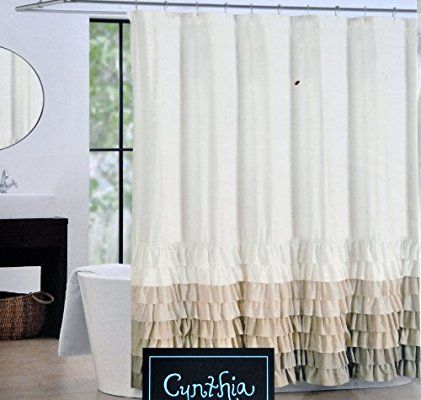 Cynthia Rowley Fabric Shower Curtain Tan Beige And Light Brown