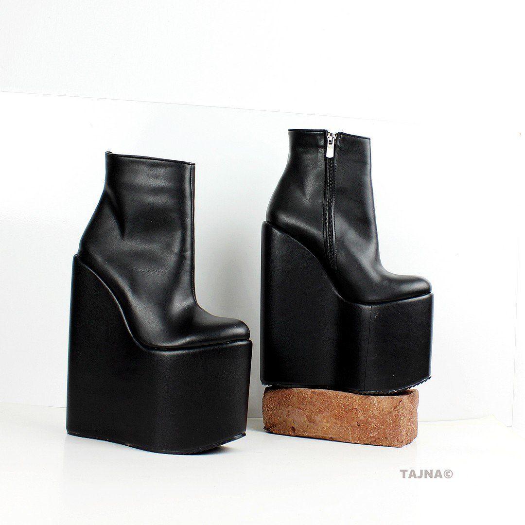 9e2209718b7c Black High Heel Wedge Booties – Tajna Club