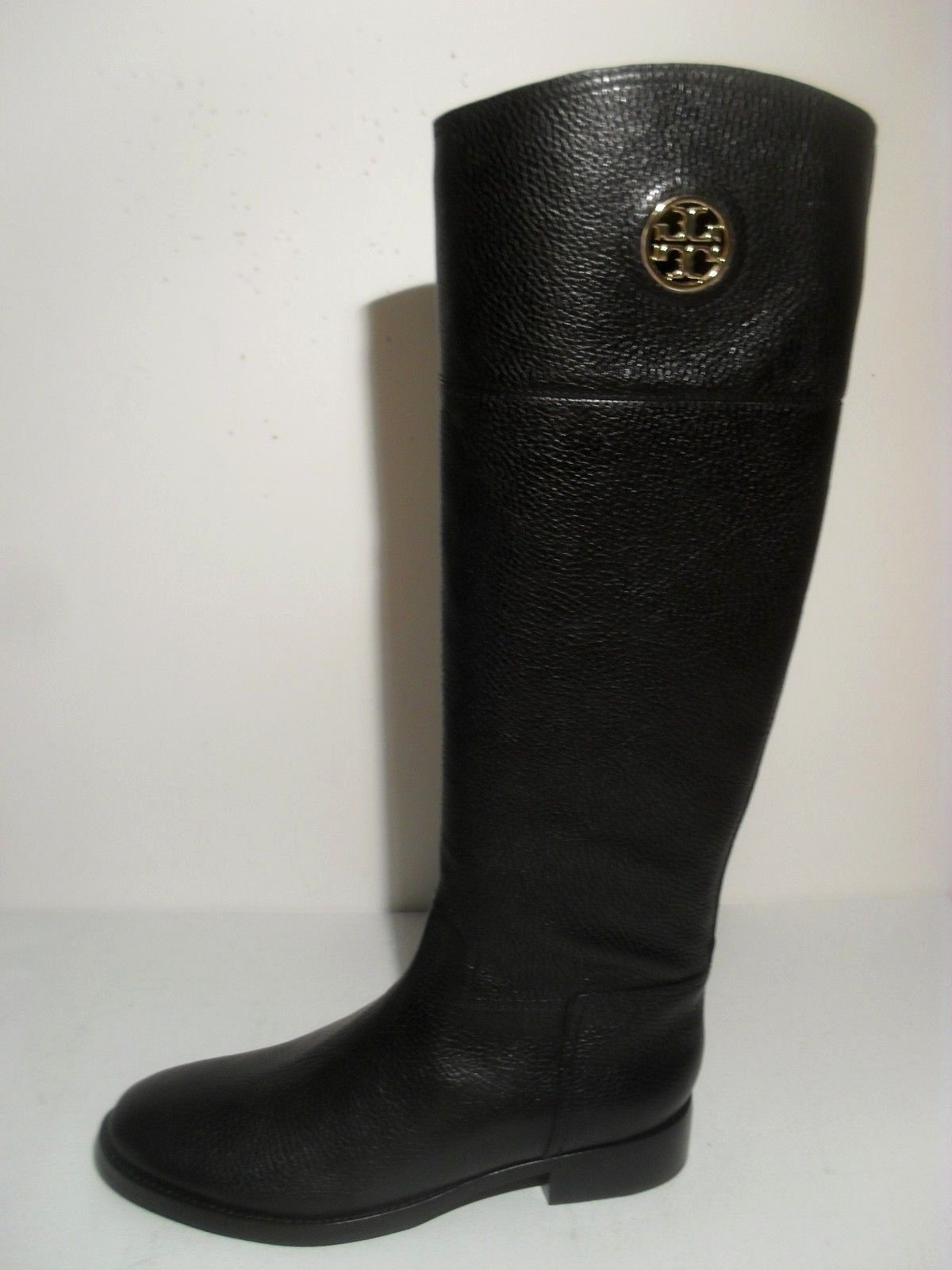 Tory Burch Junction Black Riding Boots Zipper Tumbled Leather Gold Logo New 5f3a66f4bc13