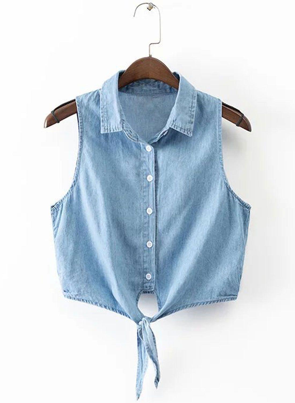5a8baf1b8d15e Women s Casual Sleeveless Tie Waist Denim Crop Top.Check more from  www.oasap.com .
