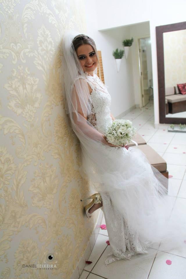 Vestido de Noiva feito sob medida - Noiva Leticia Rufino - Renda Guippir - Laçarote - Catalão GO