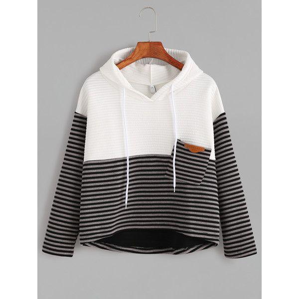 Contrast Striped High Low Drawstring Hooded Pocket Sweatshirt ($13) ❤ liked on Polyvore featuring tops, hoodies, black, striped hoodie, hoodie pullover, hooded sweatshirt, sweater pullover and striped pullover hoodie