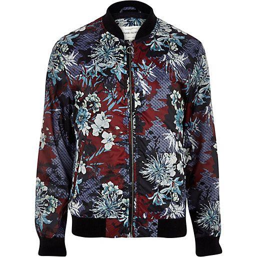 c5d22de6a Dark red oriental print bomber jacket #riverisland #rimenswear ...