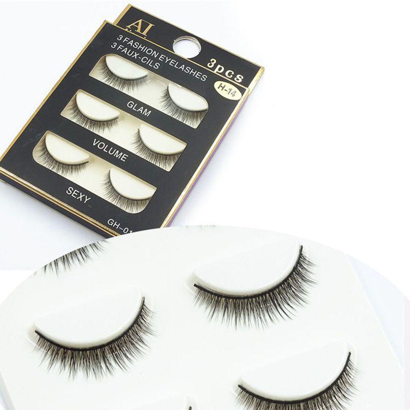 2f407f1a0aa 3 pairs /set 3D Cross Thick False Eye Lashes Extension Makeup Super Natural  Long Fake Eyelashes H14