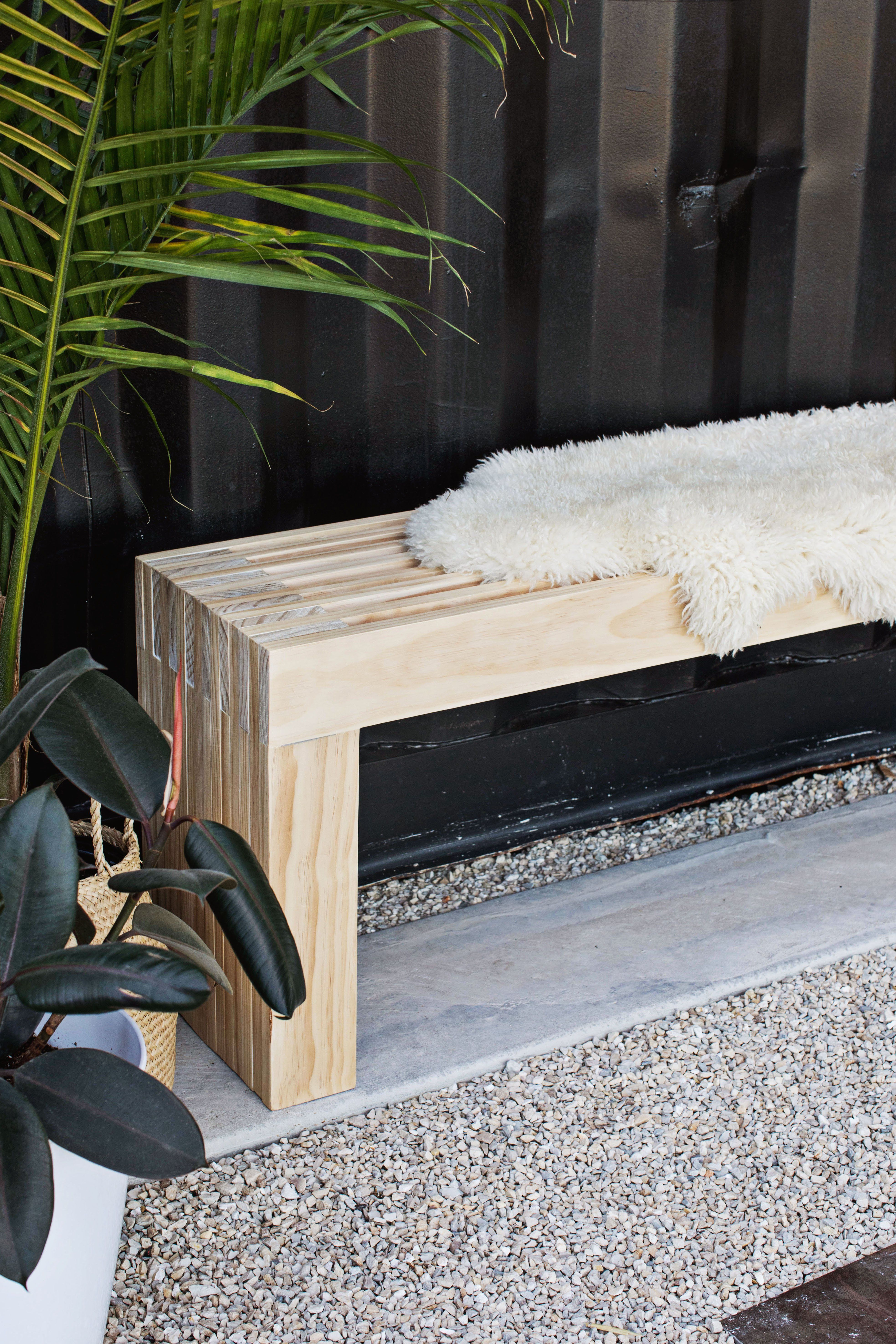 mid century slatted bench diy the great outdoors in my backyard rh pinterest at