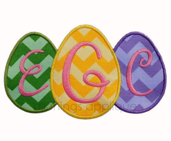 Egg trio applique design easter applique instant download