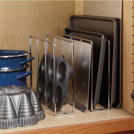 Store your baking sheets and trays in this baking rack support ...