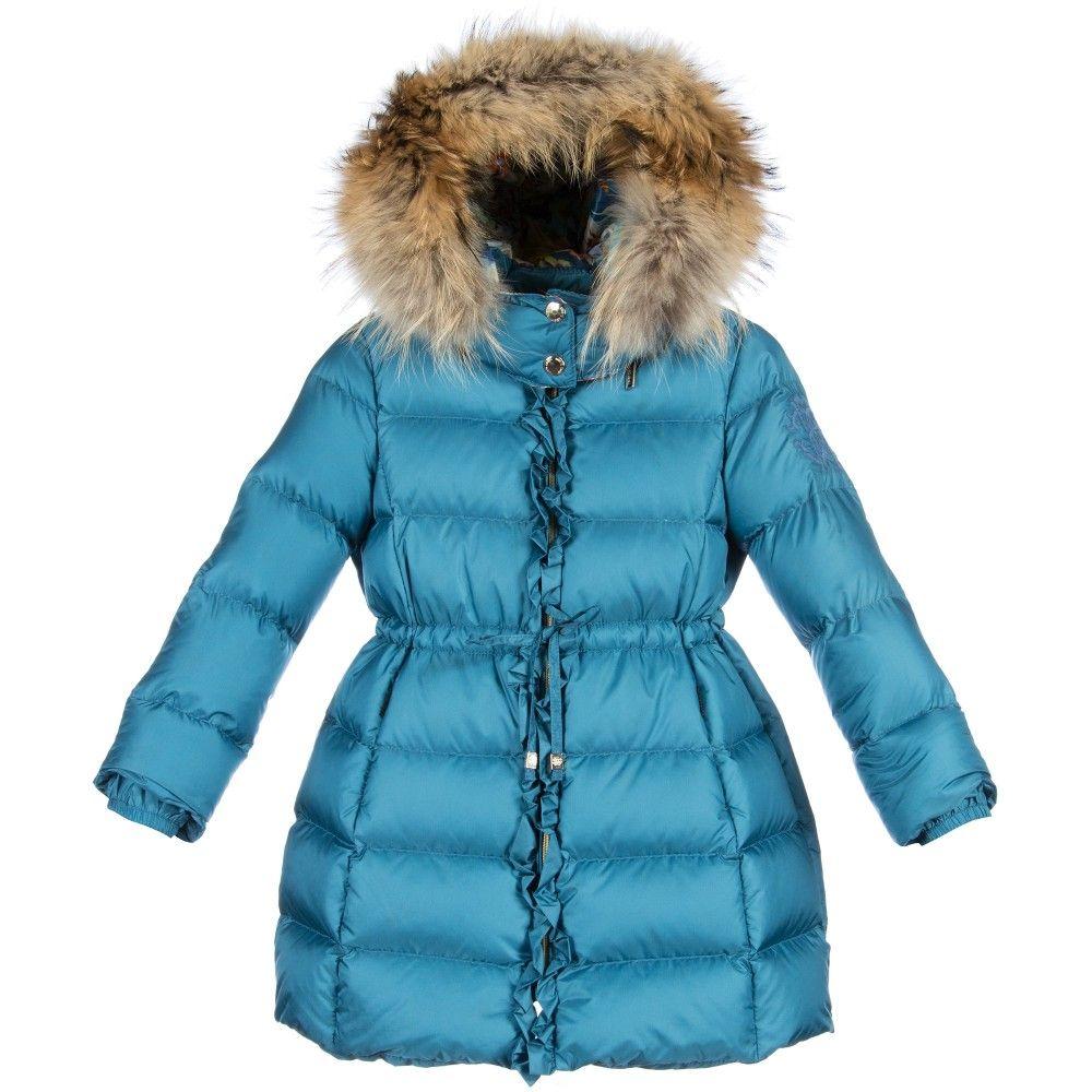 Roberto Cavalli Girls Blue Down Padded Coat Amp Fur Trim
