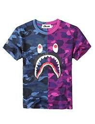 cf46fb527 BAPE Shark Half/Half Tee (Blue/Purple) | Wardrobe in 2019 | Bape ...