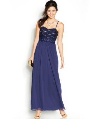 BCX Juniors\' Embroidered-Trim Gown | macys.com | Prom dresses ...