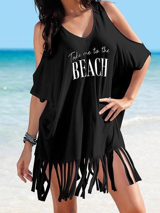9f2b666d64caf c Fringe Loose Letter Printed Off Shoulder Beach Dress Tunics Online, Batwing  Sleeve, Black