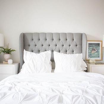 Dove Grey Velvet Wingback headboard THAT HEADBOARD | Bedroom Decor ...