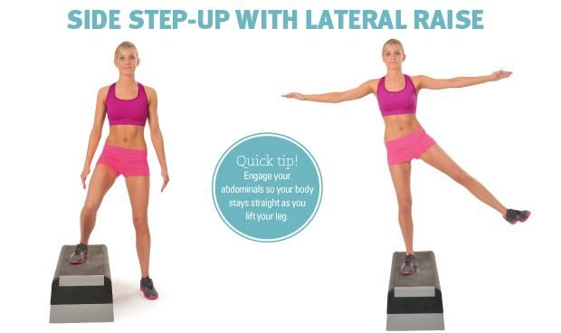 Side step up with lateral raise | Exercise | Cellulite ...  Side step up wi...