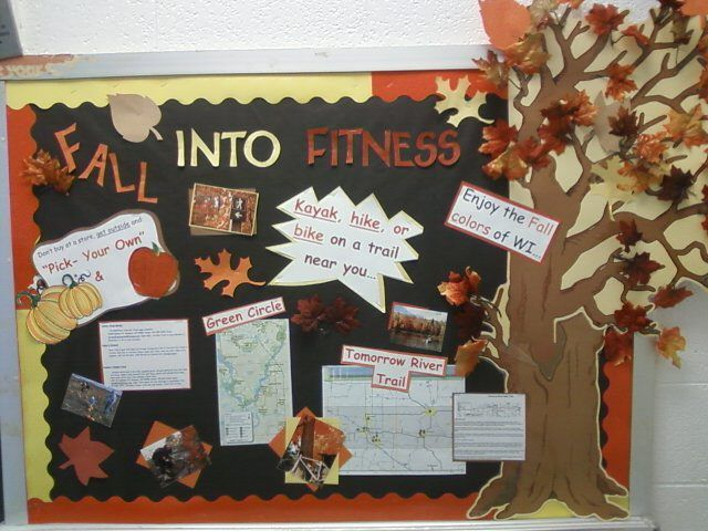 PEC: Bulletin Boards for Physical Education .  Emphasize local activities, pumpkin patch pick you own, Badger trail hikes, river rides along Columbia River, Raking leaves from the big oak trees.... #pumpkinpatchbulletinboard