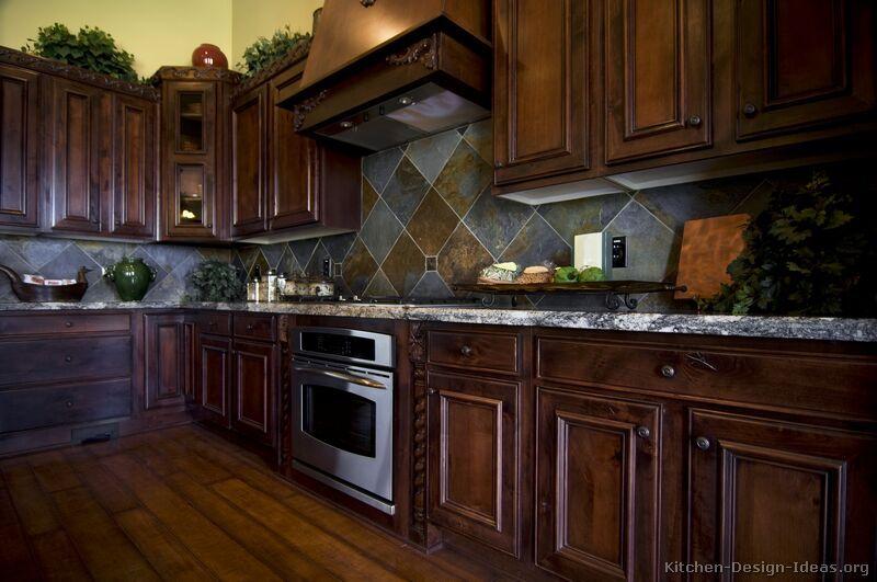 Kitchen Idea Of The Day Traditional Dark Cherry Stained Kitchens Love The Backsplash O Dark Wood Kitchens Cherry Cabinets Kitchen Kitchen Inspiration Design