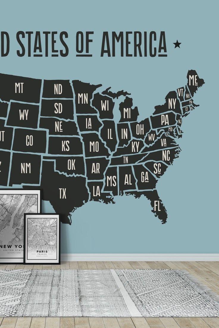 USA Map Wall Mural   Wallpaper