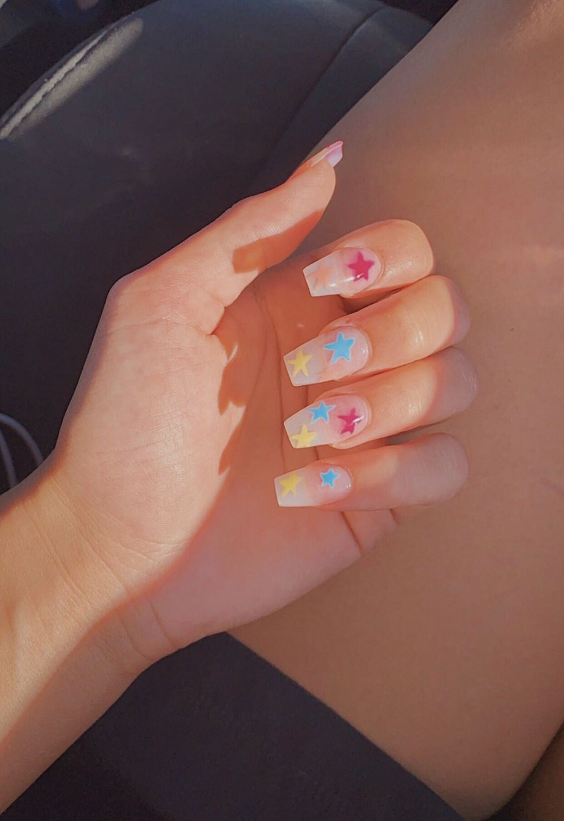 Star Nails Nails Mood Moods Summer Bright Hand Style Blue Yellow Red Stars Starnails Pretty Acrylic Nails Cute Acrylic Nails Fake Nails