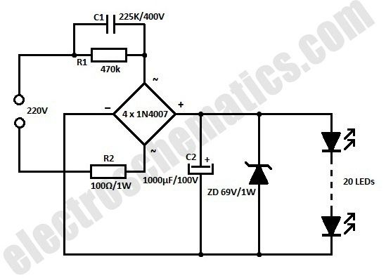 schematic of the led flood lights circuit
