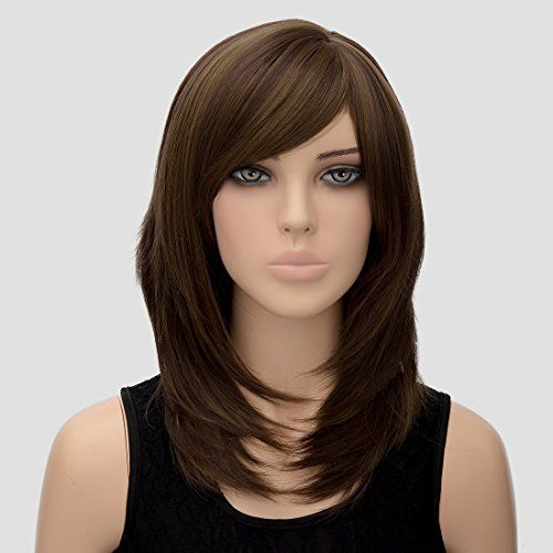 Womens Wig Shoulder Length Wigs Womens Long Dark Brown Wig Straight Hair Wig Cosplay Party Costume Full Soft Wig For Wom Wig Hairstyles Hair Medium Hair Styles