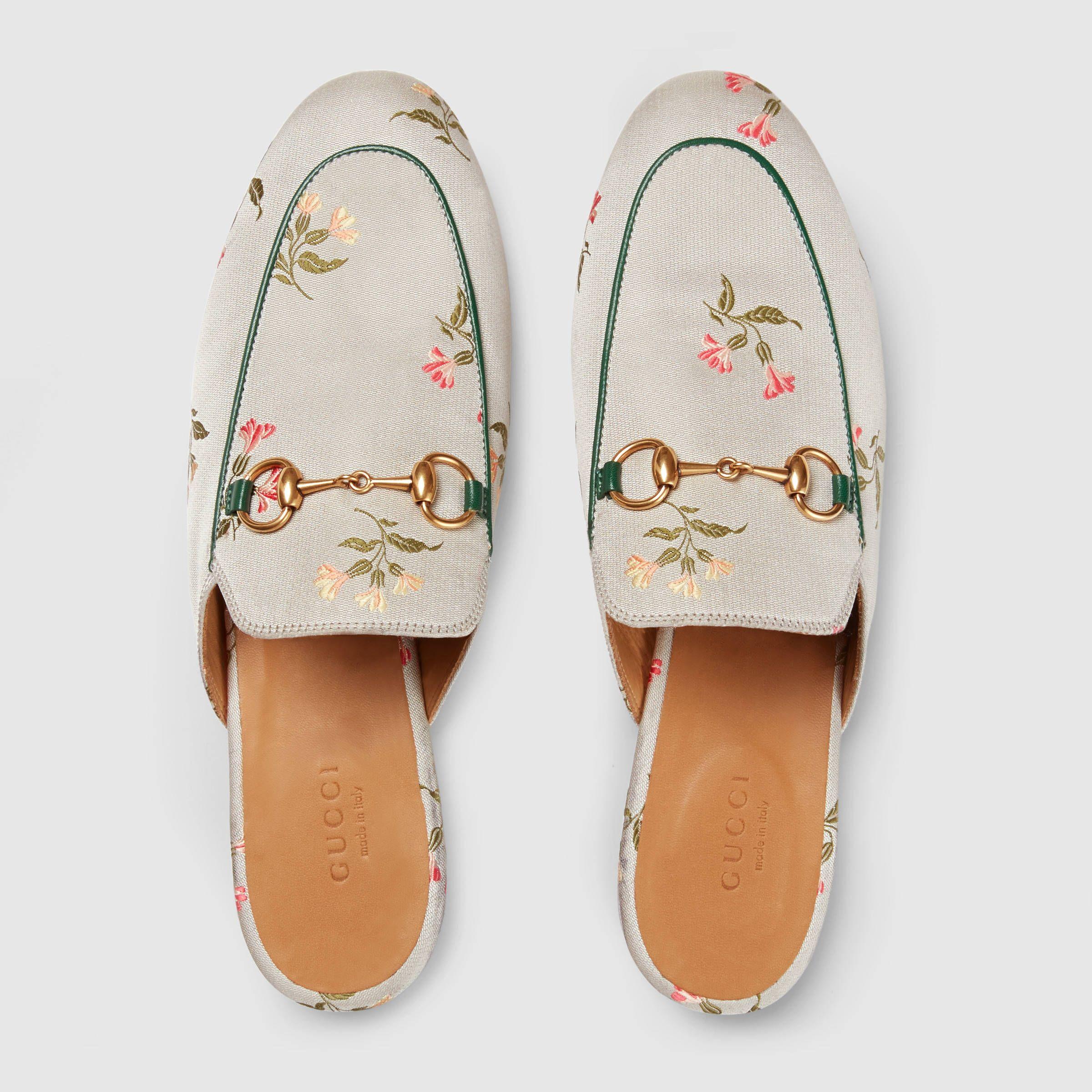 Gucci Princetown floral duchesse slipper