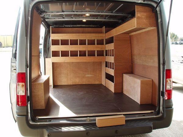 Image result for van shelving - Plywood Lined Van With Bespoke Shelving And Racking Systems Can Be