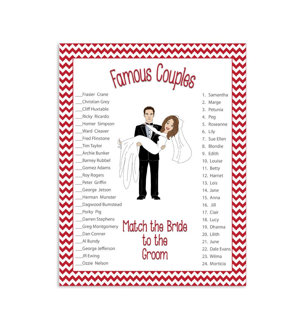 bridal shower game famous couples printable by thevintagepen