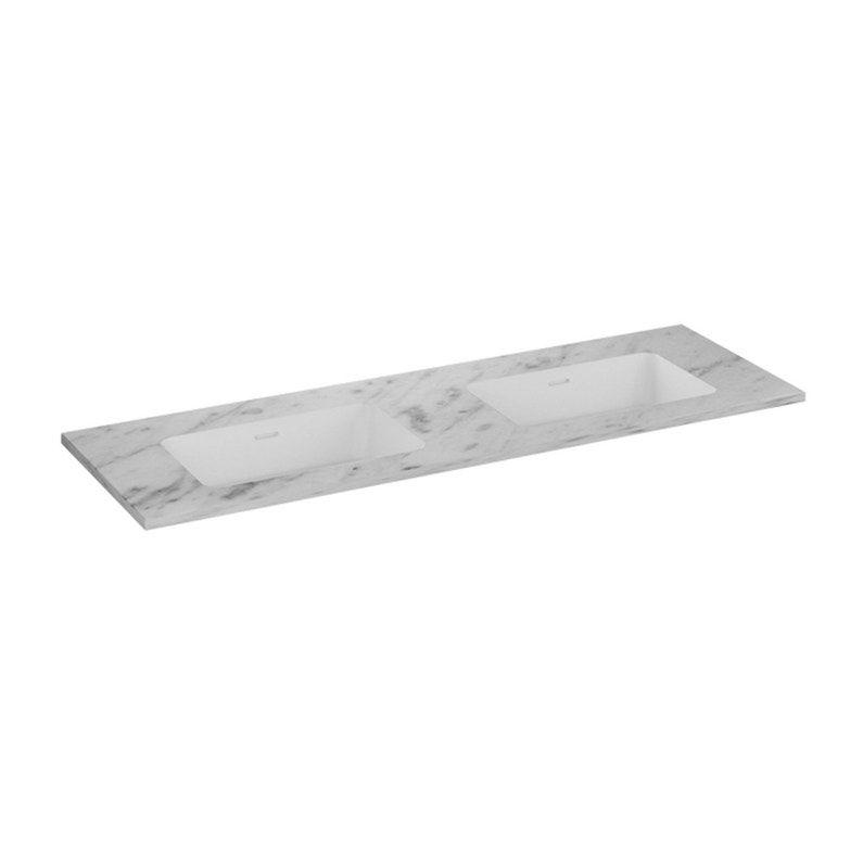 Plan Vasque Simple Kende Marbre L141 X P46 Cm Blanc Kende