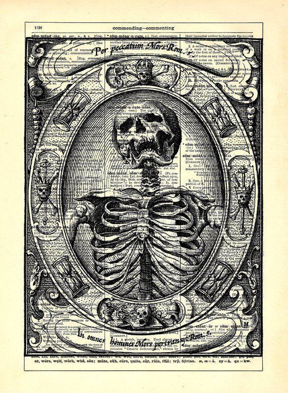 Skull And Cross Bones Print Vintage Dictionary Page Wall Art Picture Skeleton