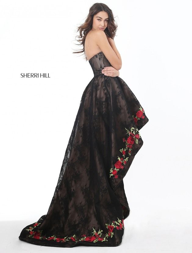 Strapless lace high low with a flower embroidered border.