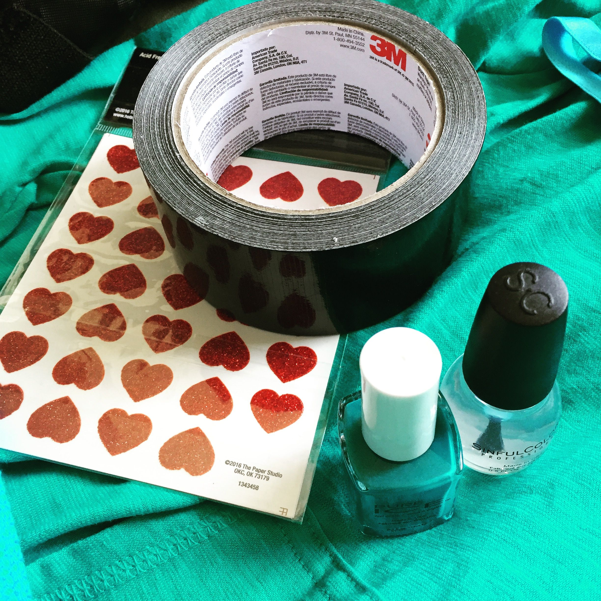Heart stickers from JoAnn Fabrics; black duct tape from Home Depot ...