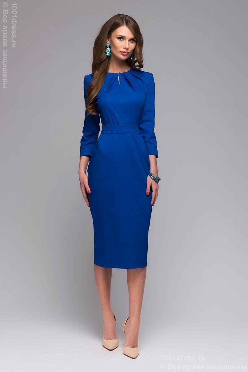 8a98f646be9 Купить синее платье-футляр длины миди со складками на горловине и рукавами  3 4 в интернет-магазине 1001DRESS