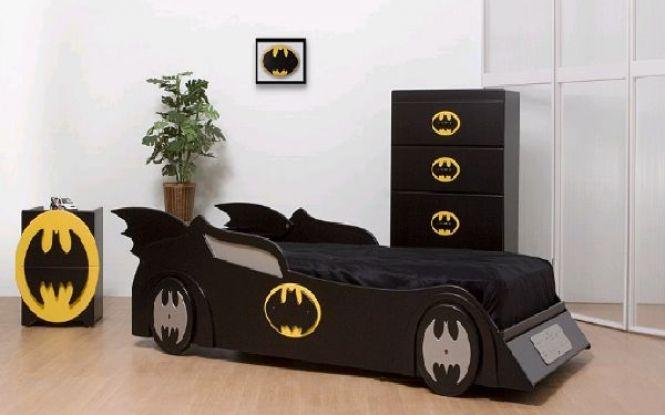 Cool Kids Bedroom Design With Batman Bed And Wallpaper Bedroom
