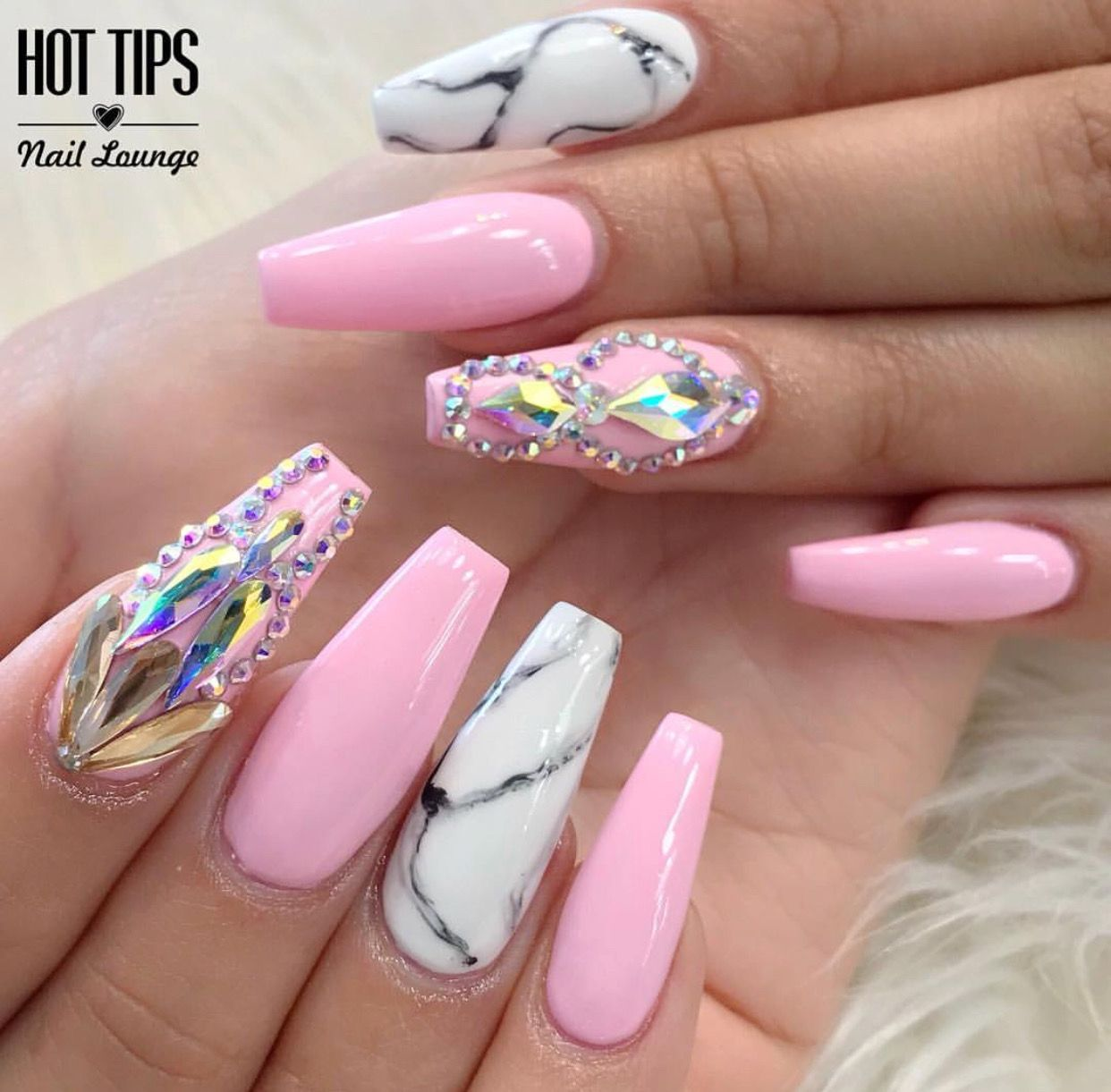 This Pink Nail Art With Rhinestones And Marble Accent Is So Pretty Nailart Trendy Nails Pink Acrylic Nails Pink Nail Art