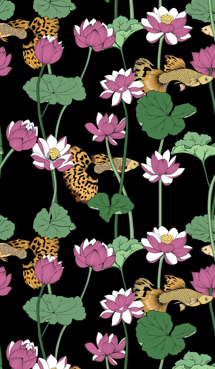 lotuses, lotus, seamless, floral, goldfish, flower, plant