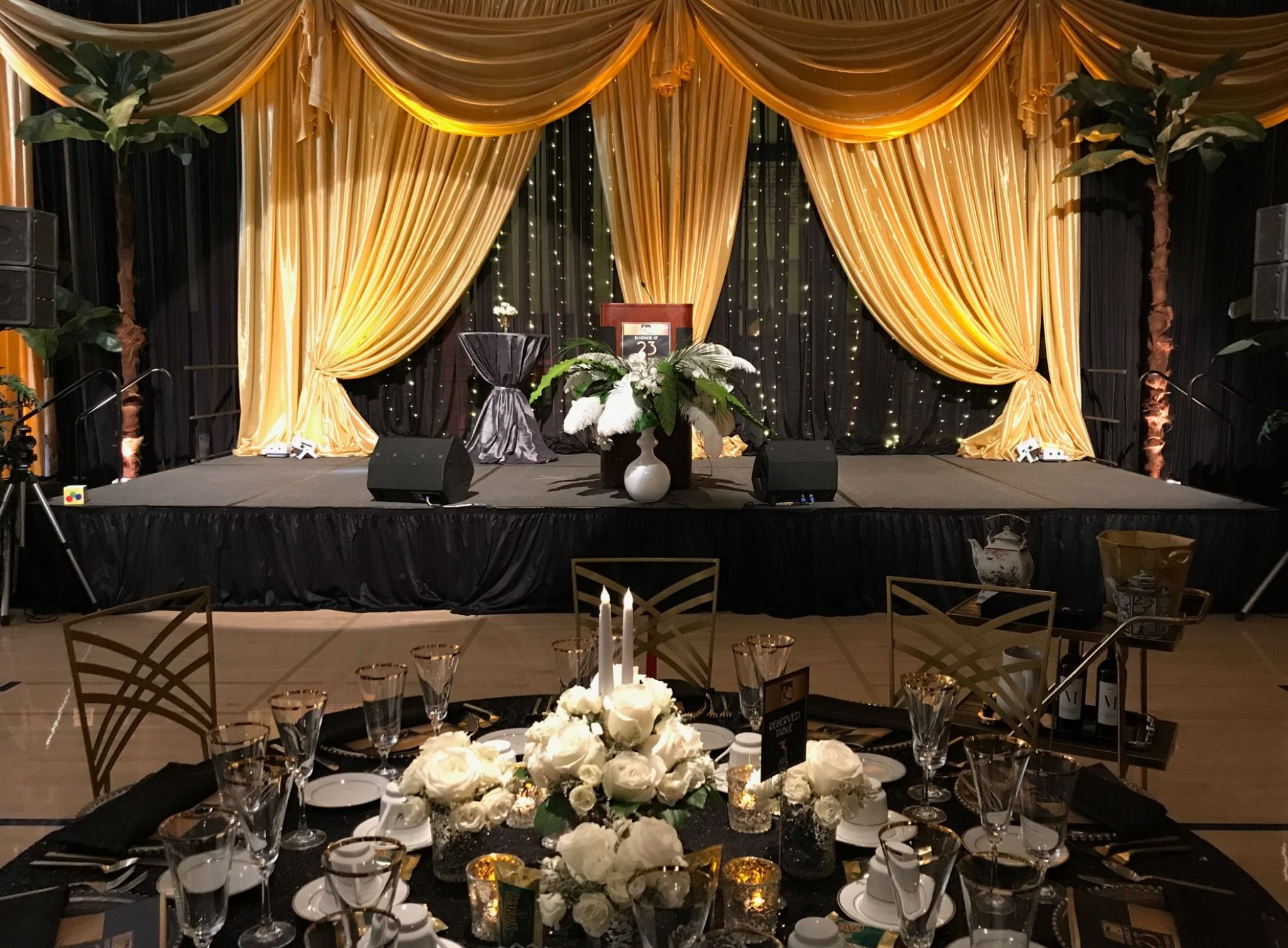 Gold Black And Ivory Gala Stage Backdrop And Decor For Chancellor