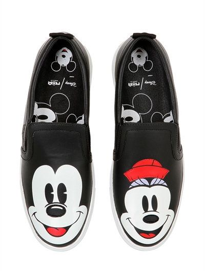 MOA MASTER OF ARTS DISNEY PRINTED LEATHER SLIP-ON SNEAKERS 30ncFLJs5