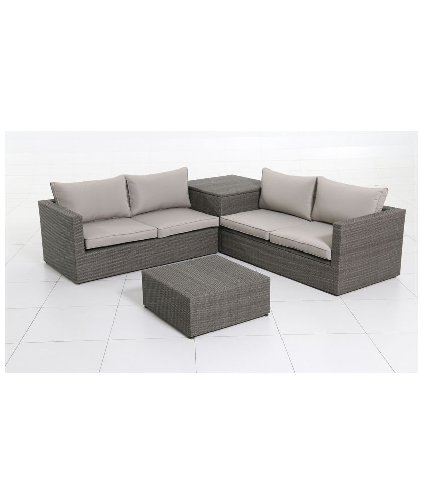 Buy Rattan 4 Seater Garden Corner Sofa And Table Set At