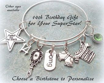 Birthday Charm Bracelet For Girl Gift 14 Year Old Teenager Personalized Daughter Her