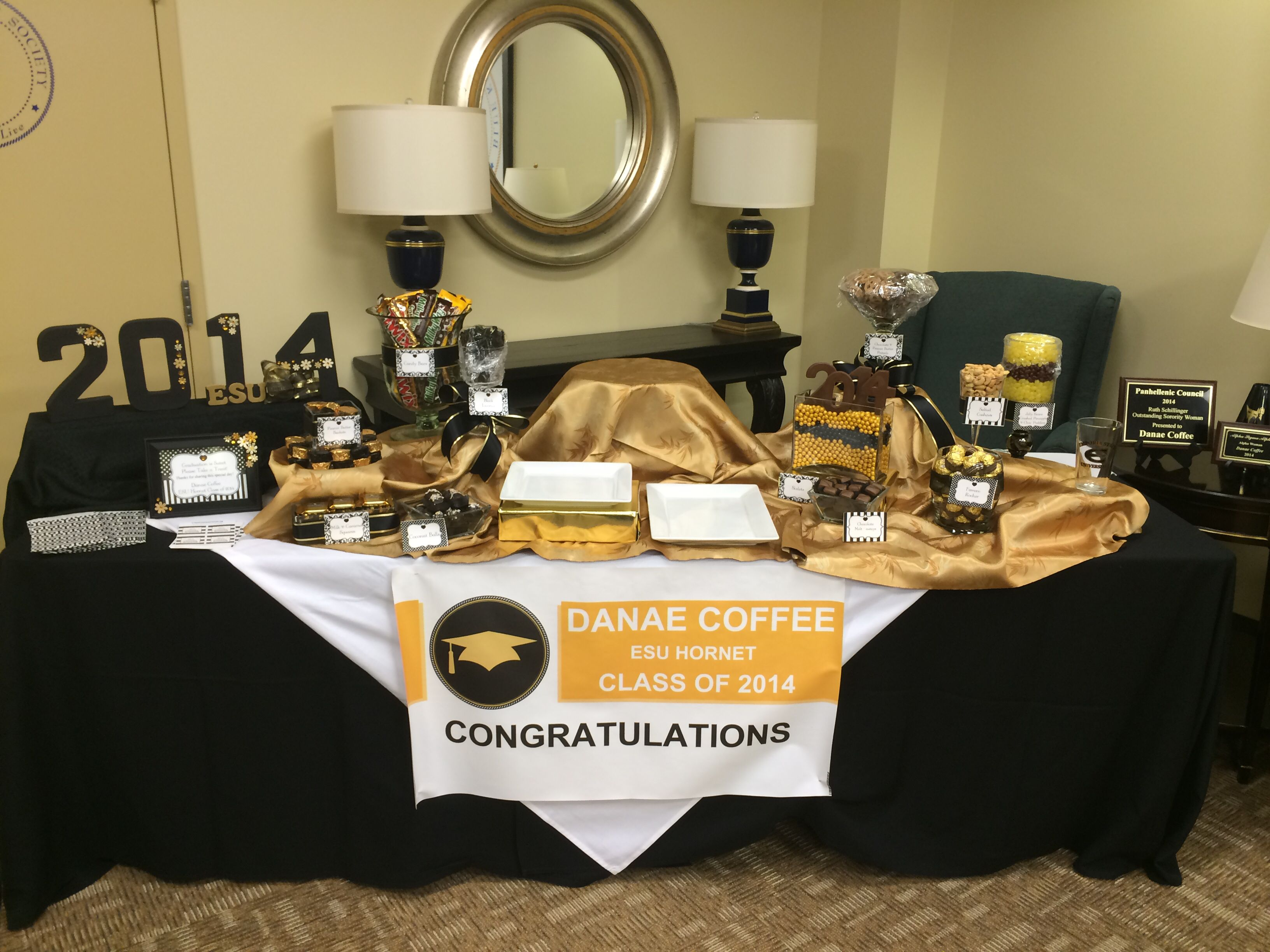graduation candy buffet black and gold