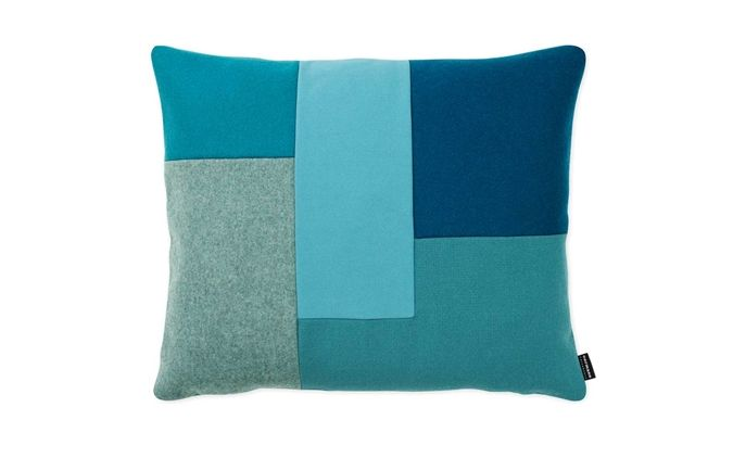 Brick Cushion turquoise | Modern geometrical patchwork design