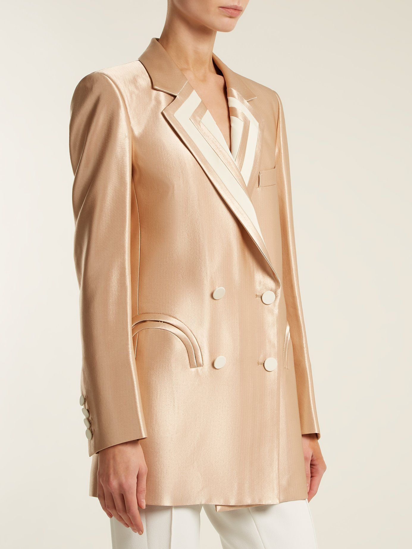 Founded by three former fashion editors, Blazé Milano has dignity and  elegance at the core of its aesthetic. This rose-gold Orianda blazer is  crafted in ...