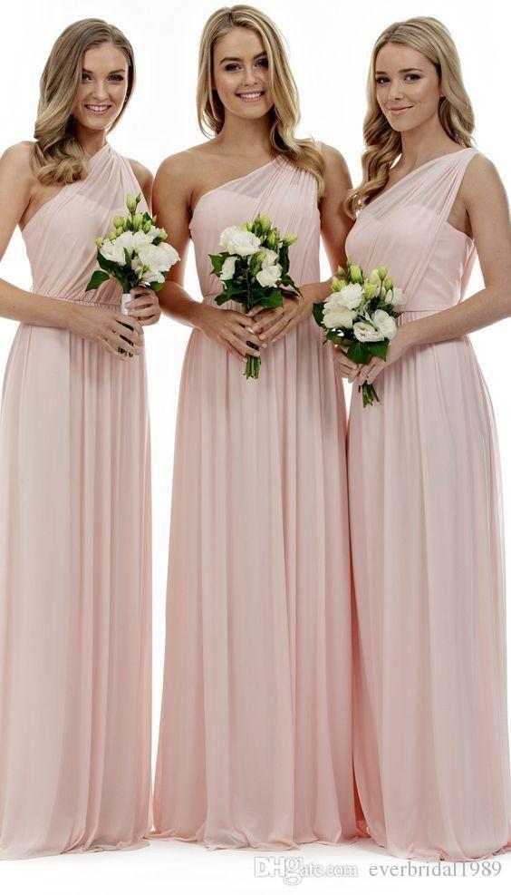 New Fashion 2017 One Shoulder Floor Length Bridesmaid Dresses Plus Bridesmaid Dresses Long Chiffon Blush Pink Bridesmaid Dresses Pink Bridesmaid Dresses Long