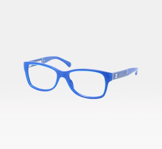 27b012ac328 Love this bright blue color! Rectangular acetate eyeglasses with patent  calfskin leather temples and CC signature. Chanel Essentials Fall 2012.