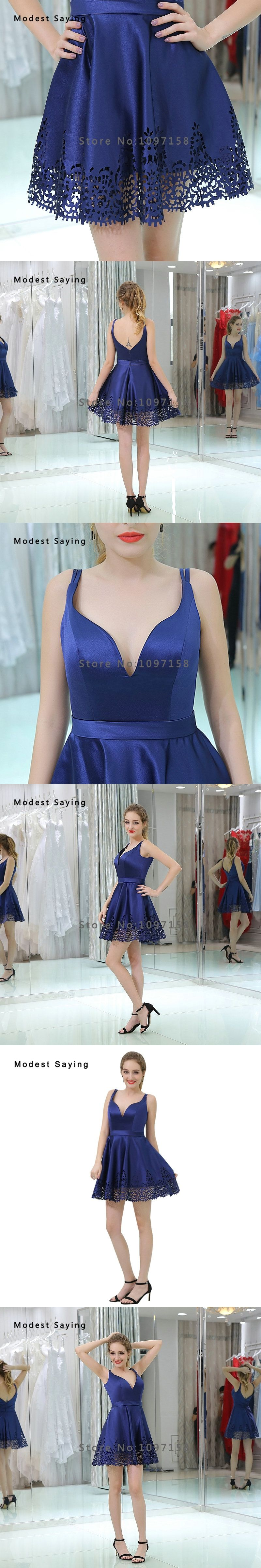 Sexy backless blue aline short cocktail dresses with straps