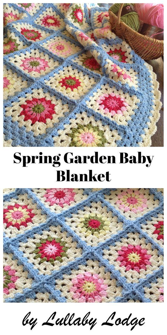 PDF PATTERN - Spring Garden Baby Blanket - Make this gorgeous crochet granny flower baby afghan - Instant digital download #couponing