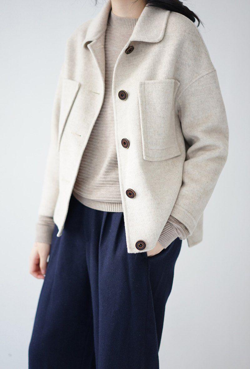 ee18/ Oatmeal color Wool Coat (short) | Coat, Wool jacket