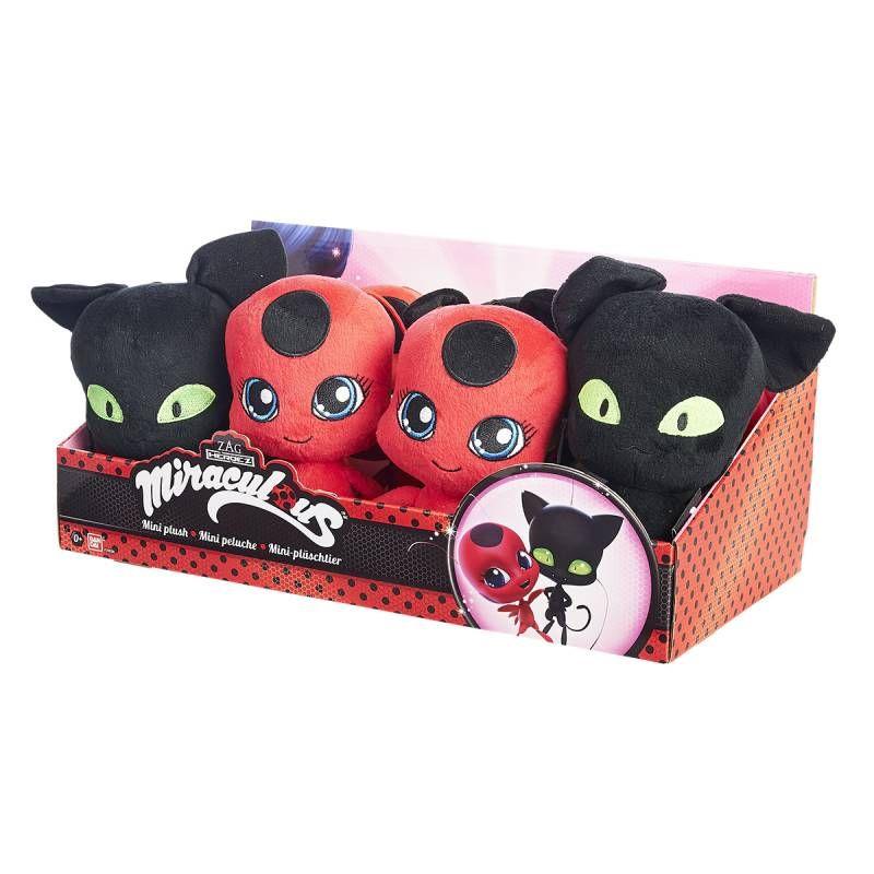 retrouvez les compagnons magiques de ladybug et chat noir en peluches toutes douces de 15 cm. Black Bedroom Furniture Sets. Home Design Ideas